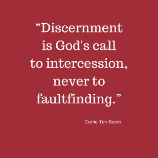 """Discernment is God's call to intercession, never to faultfinding."""